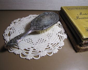 Vintage Silverplated Vanity Hairbrush - Scroll Design - Stiff Bristles