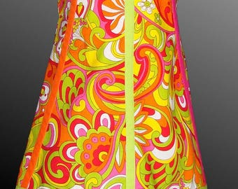 Very colorful patterned trapeze dress size 2 years