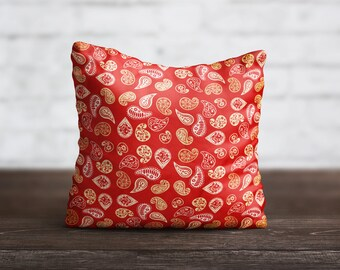 Paisley PillowCase Red Throw Pillow Cover Yellow Decorative PillowCase Sofa Toss Pillow Silk Pillow Case Satin PillowCase Art Home Decor