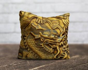 Gold Dragon Pillow Living Room Cushion Cover Golden PillowCase Animal Throw Pillow Cover Silk Pillow Satin Pillow Luxury Home Decor Dad Gift