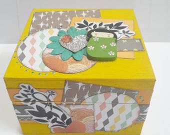 Chinese box to customize it in timber scrappee with her little doll in shades of yellow, orange