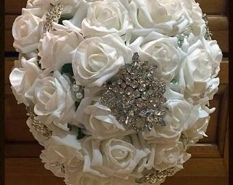 Silk flower & diamanté brooch bouquet