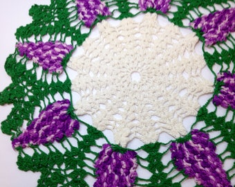 Vintage Crocheted Doily, Purple Grapes Doily, Purple Green White Doily, Large Crocheted Doily, Handmade Purple Doily, Wine Lover Decor