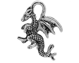 15 Dragon Fire Mythical Antique Silver Charms Pendant 15mm x 19mm (392)