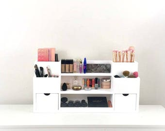 Wall Mounted Makeup Station | Makeup Organizer | Cosmetic Display | Makeup  Storage And Organizer |