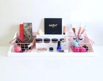 Marvelous Wall Mounted Makeup Organizer | Makeup Vanity Organizer | Cosmetic Storage  | Rose Gold Storage Bins
