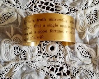Pride and Prejudice Cuff, Jane Austen, Brass Cuff, Book Nook, Image Transfer, Book Cuff, Teacher Gift, Truth Universally Known, MarjorieMae