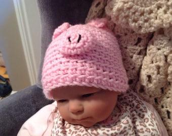 Soft, Crocheted Little Piggy Hat
