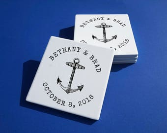 Personalized Anchor Coasters Nautical Coasters Personalized Anchor Wedding Gift - Set of 4 Coasters Personalized Coasters Nautical Gift