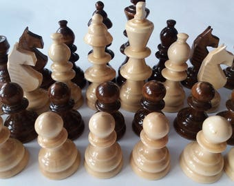 Huge chess piece set new handmade handspindled special design brown color big, King is 4.72 inch or 12 cm gift toy educational board game