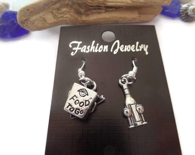 Chinese Take Out earrings, takeaway earrings, novelty earrings, night in jewellery gift, wine earrings, wine lover gift, chopsticks gift