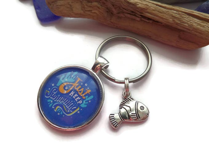 """FINDING NEMO Dory inspired """" just keep swimming """" 25mm 1"""" glass dome charm keyring fan gift jewellery UK"""