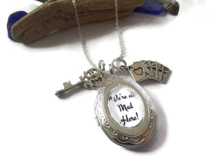 "ALICE IN WONDERLAND inspired oval glass dome locket ""we're all mad here"" 24"" silver tone necklace fan gift jewellery Uk"