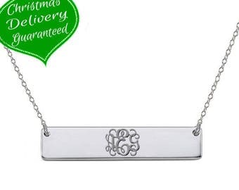 Silver monogram bar necklace 1 inch pendant select any initial made with 925 Sterling silver