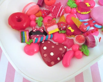 Assorted Hot Pink Sweets/Food Cabochons Mix #1033