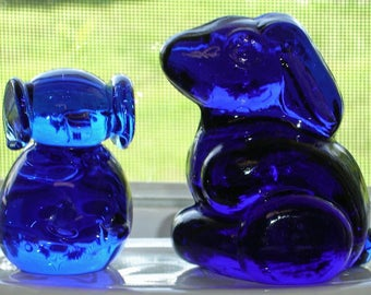 Cobalt Blue Glass Animals Set of Two