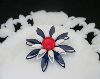 Vintage Patriotic Enameled Red White and Blue Flower Pin Brooch