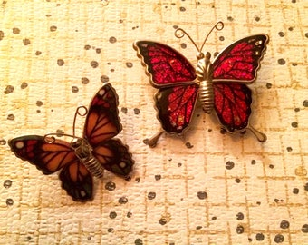Vintage butterfly brooch lot of 2