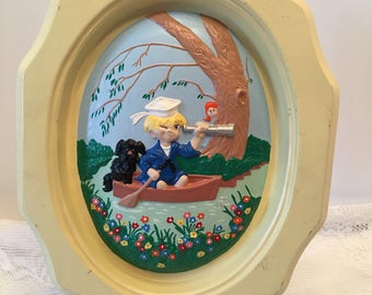 Vintage Wall Plaque ~ Boy & Dog in Boat ~ Yellow Border ~ Retro ~ Shabby  Chic ~ Vintage Picture