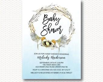 Bird Nest Baby Shower Invitation, Nest Shower, Bird Shower, Cute, Gender Neutral, Neutral Shower, Modern, Digital Printable Invitations