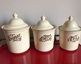 Vintage Pfaltzgraff Village Sugar Coffee & Tea Canister in Brown and Cream | Vintage Storage Containers  | Retro Kitchen Jars