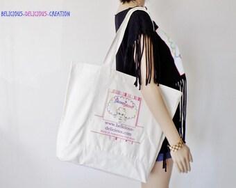 Original tote bag! BELICIOUS-DELICIOUS! cotton Ecru patterned Logo front size: 47cm X 39 cm x 12cm