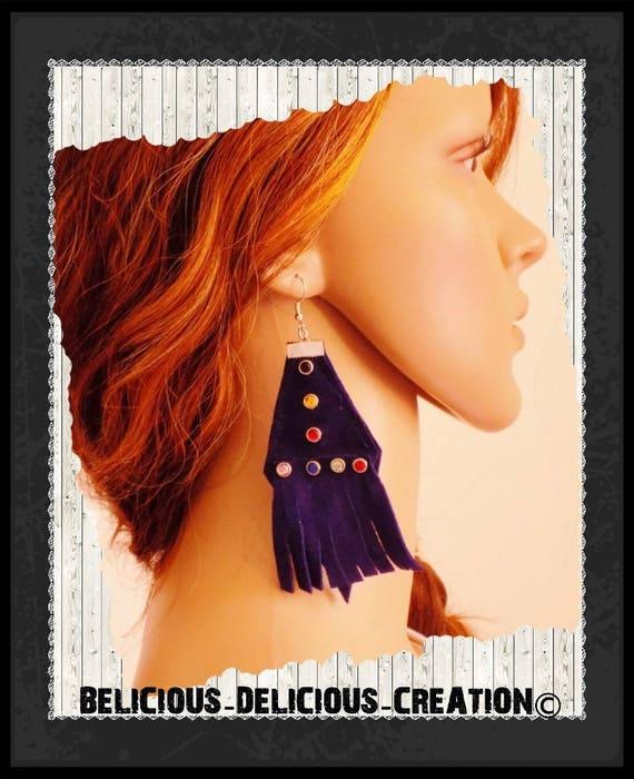 Original boucles d'oreilles !! BLUE DIAMOND LIGHTS !! En Cuir Suedette blue T 9.5cm x 4cm belicious-delicious-creation