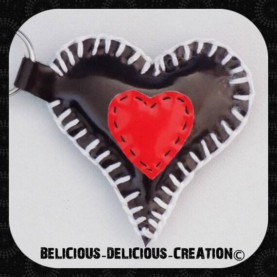 Original Porte clés bijoux de sac !! INNER HEART !! en simili cuir,noir T:6cm x 7cm belicious-delicious-creation