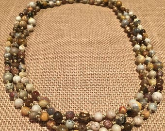 Super long bohemian beaded necklace, hand knotted , gemstone necklace - jasper, quartz  and faceted crystals,  Two or 3x wrap necklace