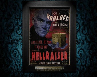 A2 Karloff Hellraiser Vintage Style Movie Poster art Print cult classic horror Cenobite pinhead art fanart alternate reality retro