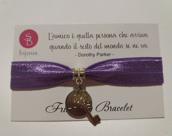 Purple Friendship Bracelet with Key Charm and Love Medal