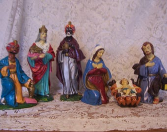 Six Piece Nativity Set, Hand Made Japan