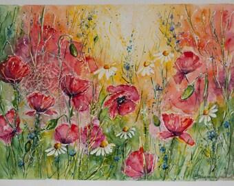 Poppy Watercolor, wedding gift art, Red Poppy Art, Poppy painting, watercolor flowers, Poppies painted, Original Watercolor Painting, Poppy