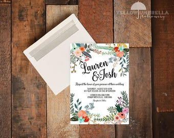Country Rustic Flower Wedding Invitation with Envelope - 5x7