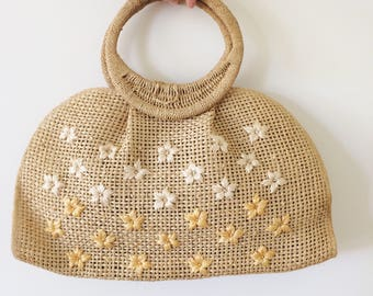 Vintage 1950s Straw Purse   50s 60s 1960s Wicker Floral Woven Purse