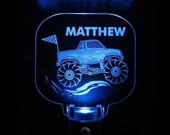 Monster Truck Night Light, Personalized, Pick your color