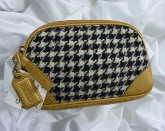 New COACH Girlie Houndstooth Pouch/Cosmetic Bag #8399