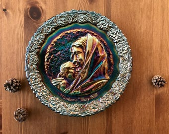 Madonna and Child Fenton Carnival Glass Plate 1971