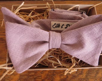 Mens pink heather ethical cotton Bow Tie
