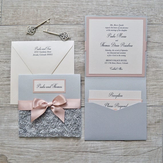 PAULA - Silver Rosette Wedding Invitation - Square Folding Pocket Invite with Silver Rosettes and Antique Pink Ribbon and Accents