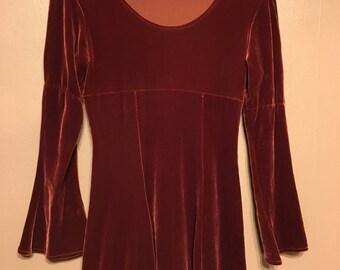 Isolde Dress- romantic deep red velvet dress