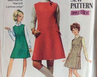 Simplicity 7824 junior misses petite jumper size 11 bust 34 vintage 1960's sewing pattern
