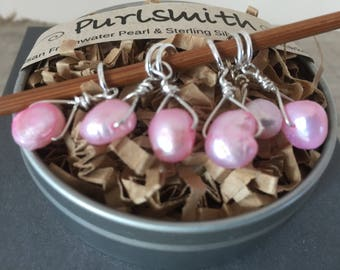 Pink Freshwater Pearl & Sterling Silver Stitch Markers for Knitting,Set of 6,Knitting Notions, Gift for Knitter