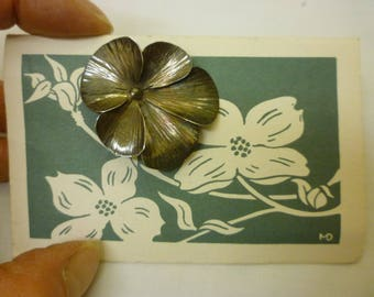 J29 Vintage Sterling Dogwood Flower Pin with The Legend of the Dogwood.