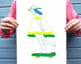 Skateboarding dog, blue and green art print, cool illustration print, A3 print, A4 print, colourful, skating, rad, pooch, skating, fun, cute