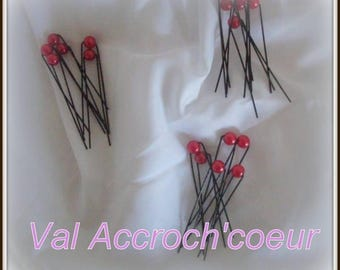 Red 18 hair pins set