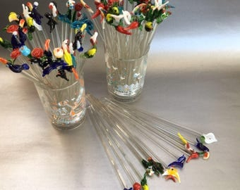 Marine Critter, Fish Set of 6 Handblown Glass Swizzlesticks Stir Sticks