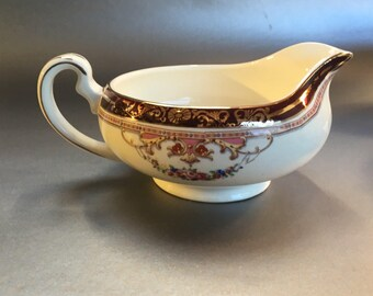 Antique Alfred Meakin England Bleu de Roi China Gravy Boat Pitcher