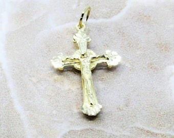 14K Gold Cross, 14k Gold Crucifix, 14k Vintage Gold Cross Pendant, Real Gold Cross
