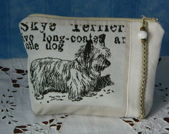 "vintage Pearl clutch bag handmade ""SKYE TERRIER"" lined pouch."